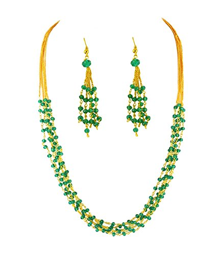 Goldencollections Green Crystal Chain Set