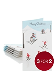 5 3D Ski Scene Luxury Christmas Multipack of Cards