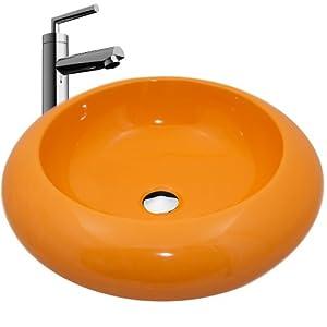 neg design waschbecken uno22a gelb aufsatz waschschale waschtisch rund mit breitem rand und. Black Bedroom Furniture Sets. Home Design Ideas