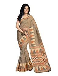 Fabdeal Indian Wear Brown Cotton Printed Saree - B00KPVQWJC