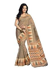 Fabdeal Indian Wear Brown Cotton Printed Saree - B00KPVQWJC