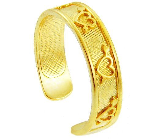 Yellow Gold Heart and Arrow Toe Ring (10K Gold)