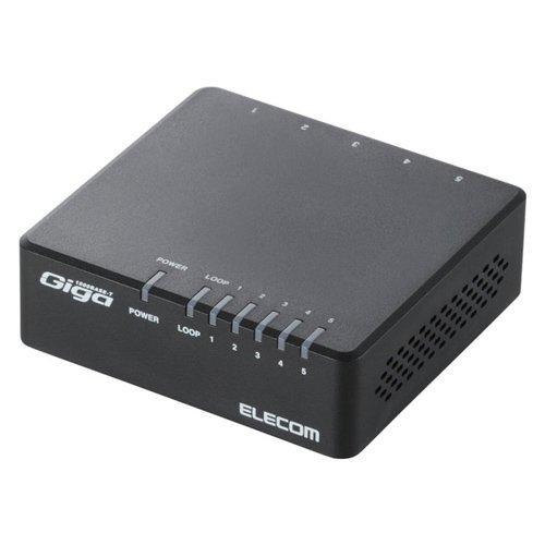 ELECOM ギガビットスイッチングハブ Giga対応 5ポート プラスチックケース マグネット付き電源外付モデル ブラック EHC-G05PA-JB