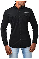 Casinova Men's Corduroy Casual Shirt (2003_C-Small, Black, Small)