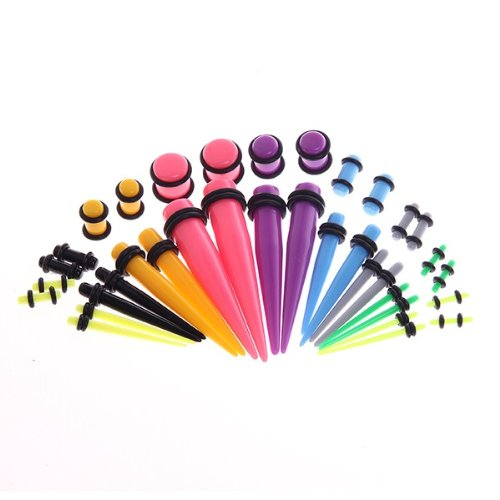 Gauges Kit 36 Pieces 14G-00G Mix Colors Acrylic