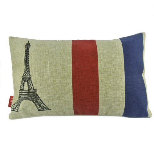 Nw French Flag Eiffel Tower Romantic Decorative Lumbar Pillow Case Cushion Cover