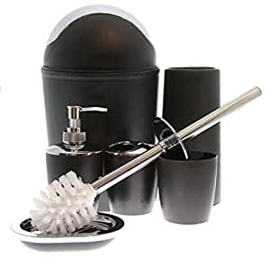 JustNile 6 Piece Bathroom Accessory Set Trendy Plastic Black Si