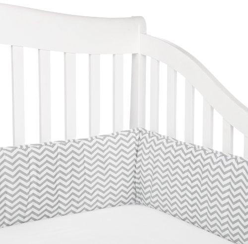 American Baby Company 100% Cotton Percale Crib Bumper, Zigzag Grey - 1