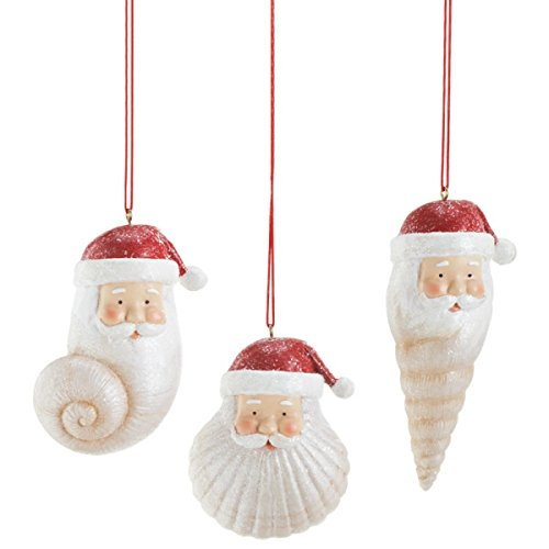 Midwest-CBK Seashell Santa Christmas Ornament (Set of 3)