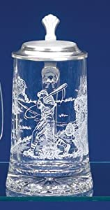 Baseball Etched Glass German Beer Stein