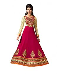 Pinkshink Pink Anarkali Dress Material-VIP12