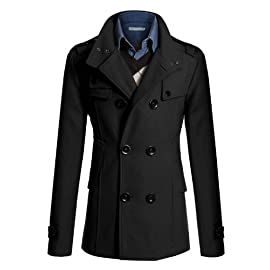 Doublju Mens Wool Slim Double Breasted Half Trench Coat