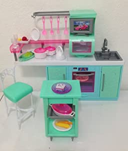 Barbie size dollhouse furniture cooking for Kitchen set toys amazon