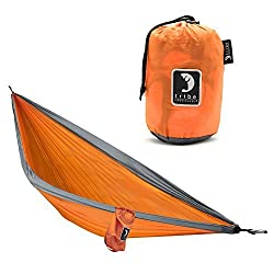 Single Person Adventure Hammock made of Rip-stop Nylon by Tribe Provisions - Includes carabiners and lashing cables Orange