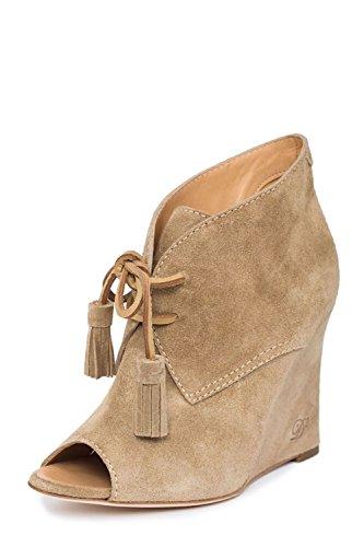 Image of Dsquared2 Women Peep Toe Wedges Lace Up Beige Suede High Heels Designer Shoes US 10 / 40 EU