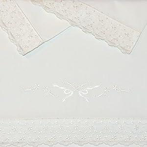 Sabanas 100% Algodón CUNA 60X120 - PUNTILLA GRACE color BEIGE (bajera+encimera+funda almohada)