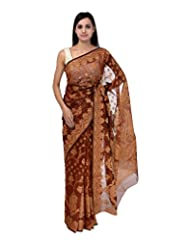 A1 Fashion Women Brasso & Net Brown Saree With Blouse Piece