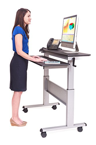"""48"""" Crank Adjustable Height Sit To Stand Up Desk With Heavy Duty Steel Frame (Black Shelves / Silver Frame)"""