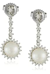 Sterling Silver 7-8mm White Button Freshwater Cultured Pearl and Cubic Zirconia Dazzle Pendant Drop Earrings