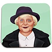 Angela Merkel Wooden Coaster - Pop Art Modern Contemporary Decorative Art Coaster, Hipstory Project By Amit Shimoni...