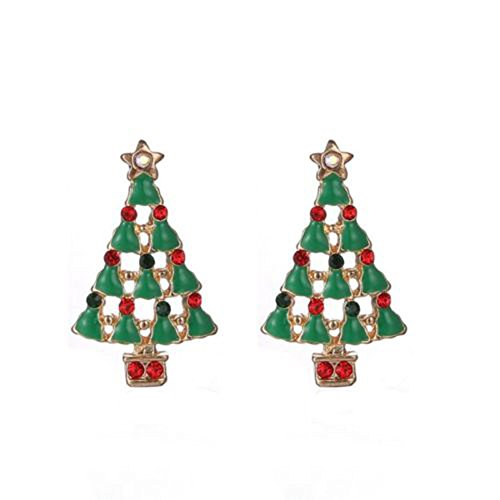 ShankMing Red and Green Christmas Tree Stud Earrings for Girls Women on Christmas Day