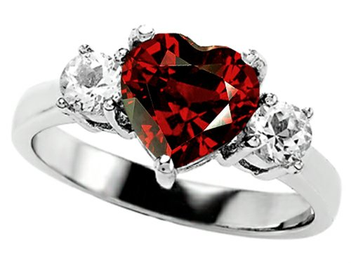 Star K 8Mm Heart-Shape Simulated Garnet Engagement Ring Size 6