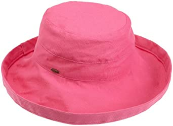 Scala Women's Cotton Big Brim Hat, Crimson Rose, One Size