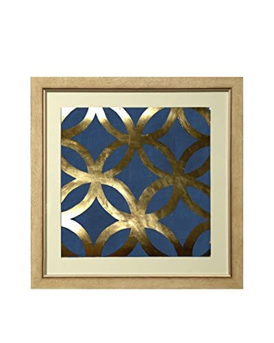 Art Source Real Gold Leaf Blue Geometric Print II, Multi, 26 x 26