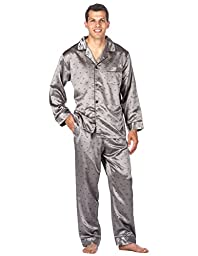 Noble Mount Mens Premium Satin Pajama Sleepwear Set - Boat Charcoal - Large