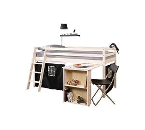 Cabin Bed & Mattress with Desk in whitewash PIRATE Tent + mattress