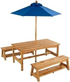 Terrific Cheap Kidkraft Table Benches With Blue Umbrella Avbdsjdz Machost Co Dining Chair Design Ideas Machostcouk