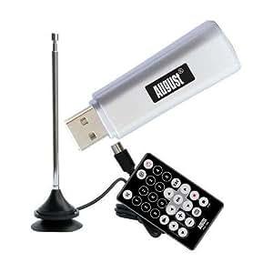 August DVB-T205 - DVB-T USB TV Stick - PC Monitor Tuner und Digital PVR Recorder - Windows PCTV Dongle mit Antenne und Fernbedienung