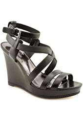 Coach Macey Womens Size 8 Black Open Toe Leather Wedge Sandals Shoes
