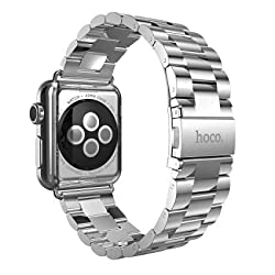 HOCO Apple Watch Band Grand Series(3 pointer) - 316 Stainless Steel/Metal Clasp/Classic Buckle Replacement Strap/Band For iwatch (Silver 42mm)