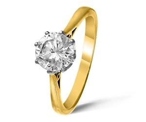 Certified Beautiful 18 ct Gold Ladies Solitaire Engagement Diamond Ring Brilliant Cut 1.00 Carat DEF-VVS2 Size S