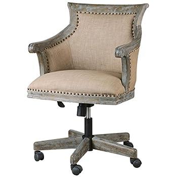 Darius Rustic Lodge Carved Wood Swivel Desk Chair