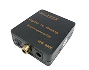 ViewHD Optical Toslink/Coaxial Digital To RCA L/R Analog Audio Converter With 3.5mm Jack Support Simultaneous Headphone & Speaker Outputs   VHD-D2AC