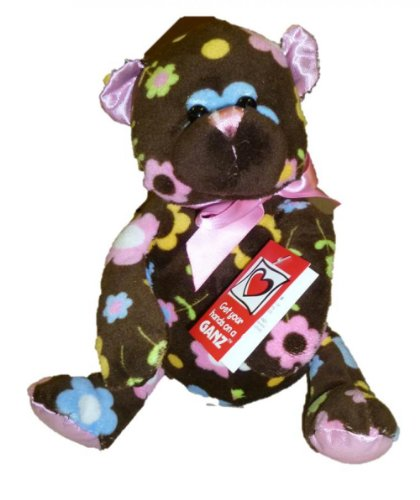 "Ganz 9"" Tall Sitting Floral Cutie Plush Bear - Brown with Flower Pattern"