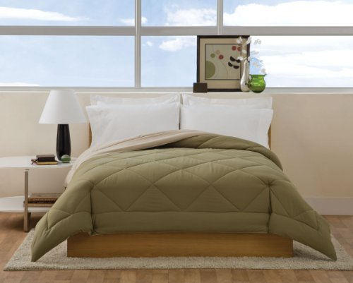 Villa Collection Solid Color Reversible Queen Comforter, Sage To Tan