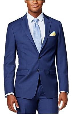 Calvin Klein Slim-Fit Blue Solid 2 Button Flat Front New Men's Suit Set