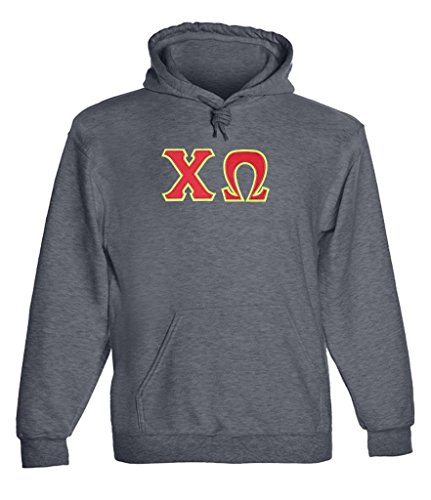 Chi Omega Twill Letter Hoody Drk Hth Large (Chi Omega Hoodie compare prices)