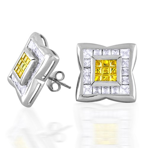Bling Jewelry Yellow and Clear Cubic Zirconia Mens Stud Earrings