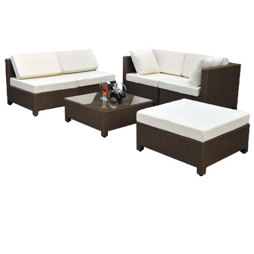 1 tectake hochwertige luxus lounge set poly rattan aluminium sitzgruppe sofa rattanm bel. Black Bedroom Furniture Sets. Home Design Ideas