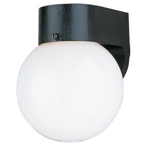 Sea Gull Lighting 8753-34 Single-Light Outdoor Wall Lantern With Smooth White Globe, Black