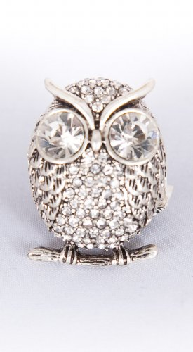 Zad Jewelry Silver Metal Rhinestone Owl Stretch Ring