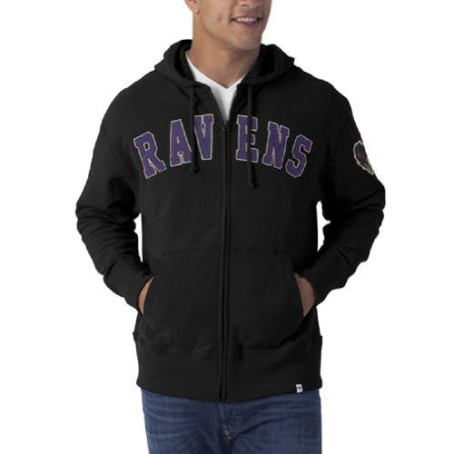 Nfl Baltimore Ravens Men'S Striker Full Zip Hoodie, Jet Black, Large front-789465