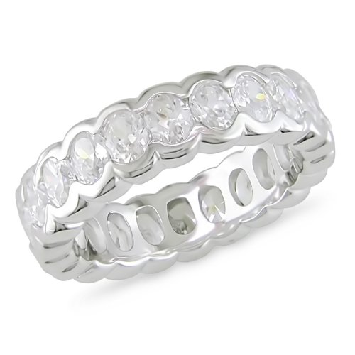 Sterling Silver 3ct TGW Cubic Zirconia Eternity Ring