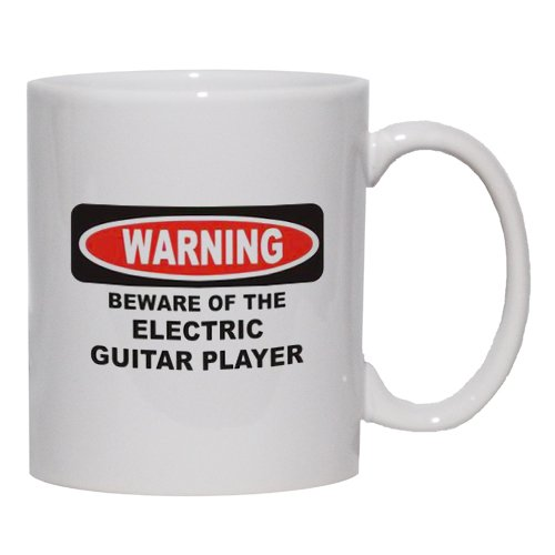 Beware Of The Electric Guitar Player Mug For Coffee / Hot Beverage 11 Oz. Black