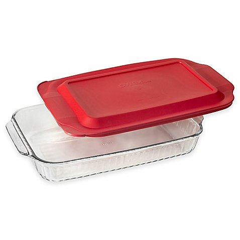 Pyrex Glass 3 qt. Sculpted Baker with Red Lid (3 Qt Pyrex Lid compare prices)