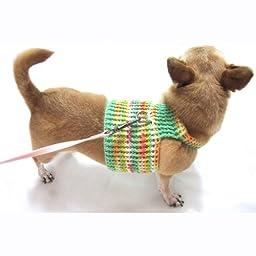 Unique Mint Green Handmade Crochet Dog Halter Harness Leash Collar by Myknitt Dh6 Free Shipipng (XXS)